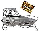 BRUBAKER Porta botella de vino barco de carreras decoración de lancha a motor - Soporte de botella de metal - con tarjeta de saludo