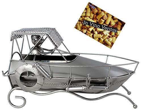 Brubaker Flaschenhalter Motorboot - Weinflaschenhalter aus Metall Rennboot - handbemaltes Deko-Objekt mit Geschenkkarte für Weingeschenke