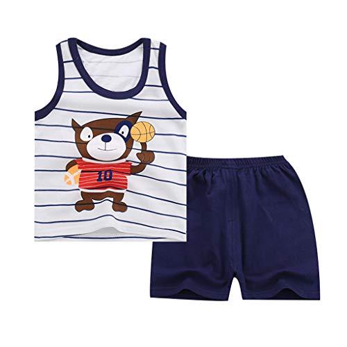 Baby Sport Suit Clothing Boy Girl Kids Sleeveless Cartoon Vest Tracksuit Shorts Pants(6Months-4Years) SIN vimklo Navy