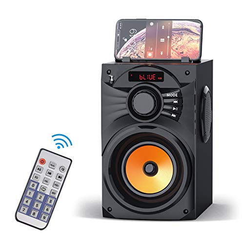 Portable Bluetooth Speakers Wireless Clear Audio Rich Bass Outdoor Party Speaker Stereo Sound Retro Desktop Speakers with Subwoofer FM Radio AUX MP3 Player Remote Control for Phone PC Home TV