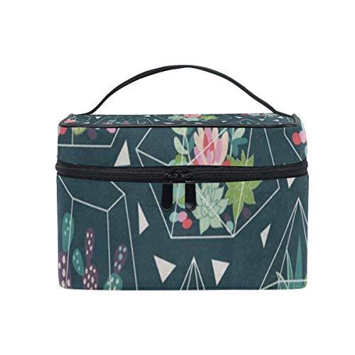Plantes succulentes et Cactus Mat Cosmetic Bag Portable Grand Trousse de Toilette pour Femmes/Filles Travel Makeup Bag