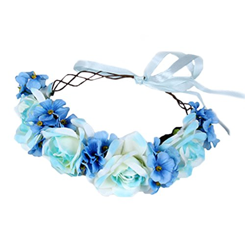 Rose Flower Crown Floral Wreath Headband Hair Wreath Hair Garland Flower Halo Floral Headpiece Boho with Ribbon Wedding Party Festival Blue by Brikuinr