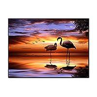5DフルドリルDIYダイヤモンド絵画キット、芸術工芸品フルドリルクリスタルラインストーン刺繍、ホームウォールの装飾とギフト、海のダイヤモンドクロスステッチ Flamingo-20*30CM