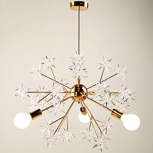Lámpara de techo moderna de metal dorado, luces de techo LED para sala de estar, lámpara Sputnik, accesorios de iluminación de montaje semi empotrado vintage - para sala de estar, cocina, dormitorio