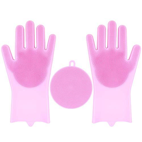 Geschirrspül Handschuhe, 35.7CM Silikon Reinigen Handschuhe Wiederverwendbare Spülhandschuhe Geschirrspülhandschuhe für die Haushalt, Küche, Auto, Obst, Bad, Haustierpflege (Rosa)