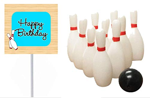 Bowling Happy Birthday Banner and Mini Miniature Bowling Pins Toys Cake Decoration Cake Topper