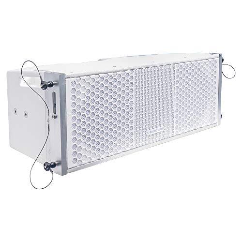 "Sound Town ZETHUS Series 2 X 8"" Line Array Loudspeaker System with Titanium Compression Driver, White (ZETHUS-208WV2)"