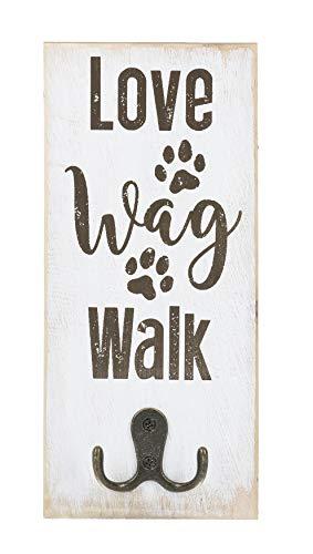 Ganz Wall Decor Pet Dog Leash Single Hook Plaque - Love Wag Walk