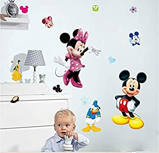 VIOYO Minnie Mickey Croissance Graphique D/écoratif Stickers Muraux pour Enfants Chambre de Bande Dessin/ée Fleur Hauteur Mesurer D/écor Mur Mural Mur Art Accueil Stickers