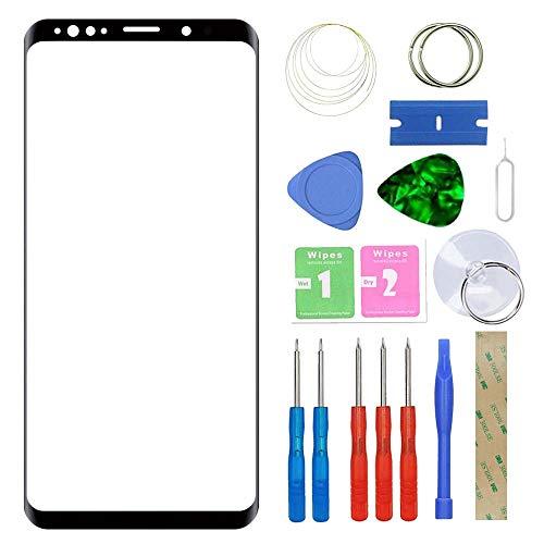 MovTEK Frontglas für Samsung Galaxy S9 G960 Serie Displayglas Ersatz Glas Reparatur Set mit Werkzeug (Schwarz)