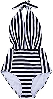 JVSISM One-Piece Backless Bather Swimsuit High Waisted Pin Up Swimwear(Stripe/M)