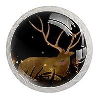 キャビネットノブ4個クリスタルガラスプルハンドル鹿 家具のドアまたは引き出しを開く場合