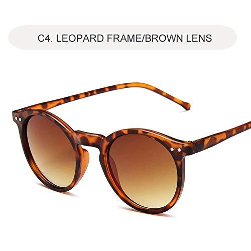 Lunettes de Soleil Sunglasses Lunettes De Soleil Polarisées Hommes Femmes Mode Lentille Ronde Cadre Marque Uv400 C4Leopard-Brown