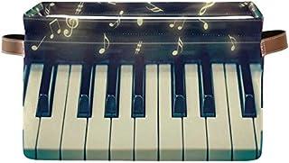 Doshine Panier de rangement pliable avec poignées pour clés de piano et notes de musique, grand panier à linge pour organi...