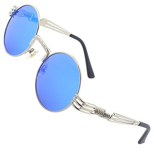 CGID E73 Polarizzate Occhiali da Sole da Uomo Retro Stile Steampunk Rotondi in Metallo