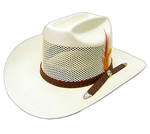 Modestone Breezer Feathers Hatband Chapeaux Cowboy 54 White ''for Small Heads''