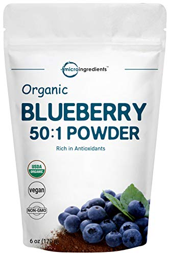 Sustainably Canada Grown, Organic Blueberry Extract 50:1 Concentrate Powder, 6 Ounce, Organic Vitamin C for Immune System Booster & Natural Flavor for Beverage and Smoothie, No GMOs and Vegan Friendly