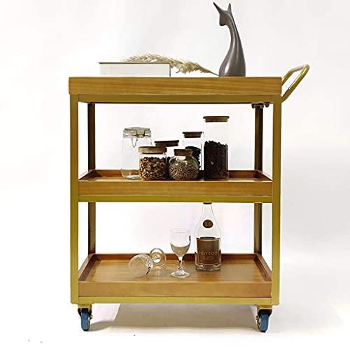 Carro de almacenamiento de utilidad con ruedas de 3 niveles, vino, bebidas, estante para vino de madera y metal con ruedas, barra de cocina, comedor, té, soporte para vino, carrito de bar