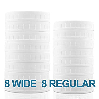 Aozita 16-Pack Plastic Mason Jar Lids with Sealing Rings - Plastic Storage Caps for Ball Jars and More - 8 Regular Mouth Jar Lids and 8 Wide Mouth Jar Lids
