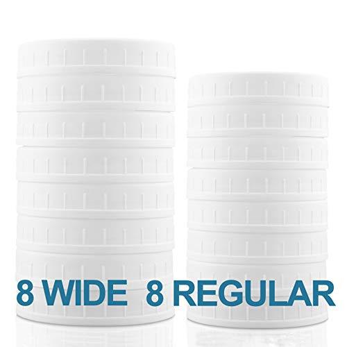 Aozita 16-Pack Plastic Mason Jar Lids 8 Regular and 8 Wide
