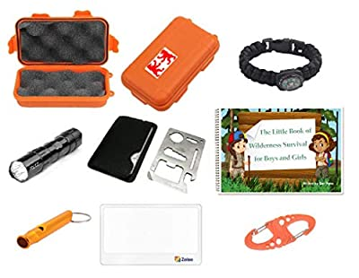 Outdoor Adventure Kit for Boys and Girls: The Little Book of Wilderness Survival, Waterproof Box, Multi-functional Tool, Magnifying Lens, Paracord Bracelet with Compass, Whistle, Flashlight, Hook by Zaioo