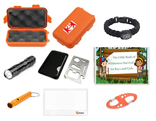 Outdoor Adventure Kit for Boys and Girls ♥ The Little Book of Wilderness Survival, Waterproof Box, Multi-Functional Tool, Magnifying Lens, Paracord Bracelet with Compass, Whistle, Flashlight, Hook