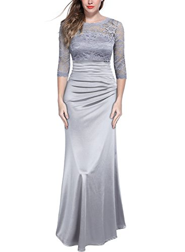 MIUSOL Damen Elegant Abendkleid Rundhals Graue Spitzen Brautjungfer Cocktailkleid Vintage Cocktailkleid Langes Kleid Grau XL