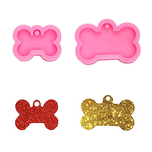 Molde de silicona con forma de hueso de perro creativo, hecho a mano, con agujero para decoración de cupcakes y postres, 2 unidades