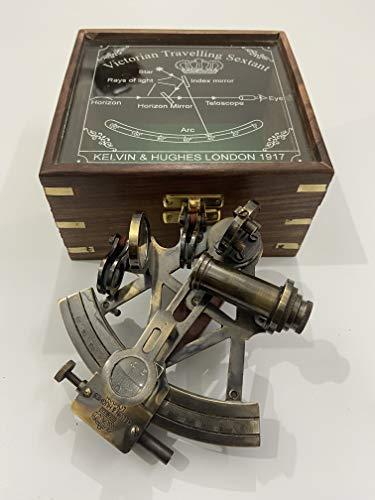 Malla Inc. Nautical 12,7 cm hecho a mano negro antiguo sextante con caja de madera