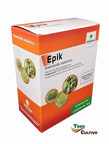 Sipcam Epik Insecticida sistemático acetamiprid 20%. Caja de 50 grs (5x10grs). JED. Tratamiento para 150 litros contra pulgón, Mosca Blanca, Escarabajo Patata, cicadelicos.