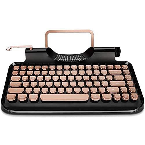 KnewKey Schreibmaschine Tastatur, Retro-Stil Kabellose Typewriter Keyboard Mit Tablet-Ständer, RGB Mechanische Tastatur kompatibel mit iOS, Windows, Android, Idee für Programmierer und Autoren