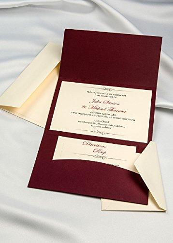 Horizon Pocket Folder Invitation Kit - Burgundy- Pack of 20