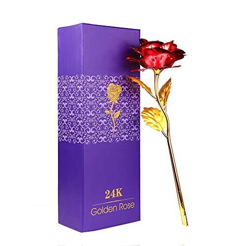 WeFoonLo Creative Artificial 24K Gold Rose Flower Plastic Real Rose immerso in Oro con Confezione Regalo per la Festa della Mamma, Compleanno, Giorno del Ringraziamento (Rosso)