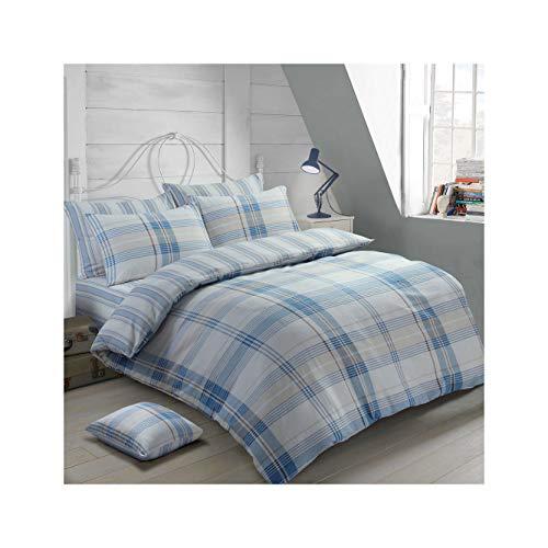 ShawsDirect Burlington Check 100% Pure Brushed Cotton Reversible Quilt/Duvet Cover Set (Blue, King Size)
