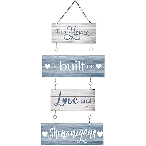 Home Sign This Home is Built on Love and Shenanigans Hanging Home Wall Sign Family Rustic Wall Decor...