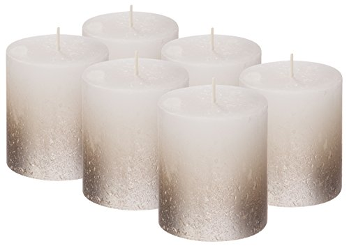 BOLSIUS Set of 6 Rustic Metallic Unscented Pillar Candle with Silver Coated Bottom 80/68mm (Approx. 2.75 X 3.2 Inches) (White/Silver)
