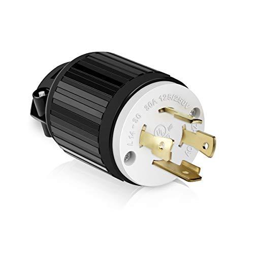 ENERLITES NEMA L14-30P Locking Plug Connector for Generator, Twist Lock Male Plug, 30 Amp, 125/250 Volt ,3 Pole, 4 Wire Grounding, Industrial Grade Heavy Duty, UL Listed, 66470-BK, Black