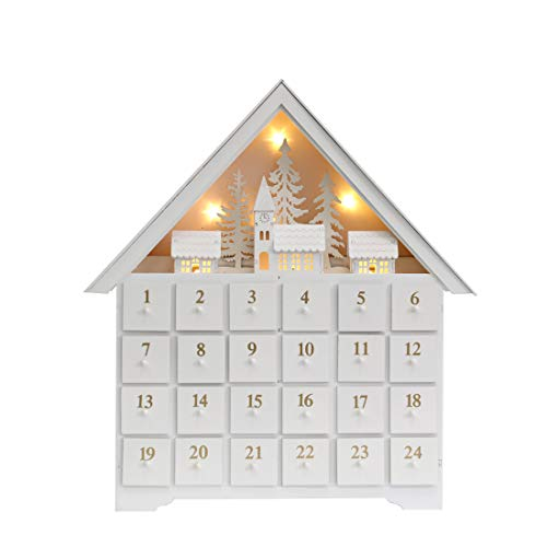 18 Inch Christmas White Wooden Advent Calendar House with 24 Drawers and Led Lights Countdown to Christmas Decoration