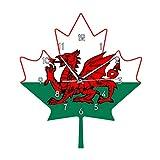 rrff Flagge von Wales Wanduhr Welsh Roten Drachen Auf Weiß Grün Ahornblatt Y Ddraig Goch UK Großbritannien Große großbritannien Uhr Uhr-No_Flame