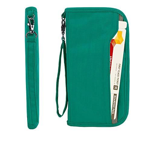 Zoppen RFID Travel Passport Wallet & Documents Organizer Zipper Case with Removable Wristlet Strap, Mint Green