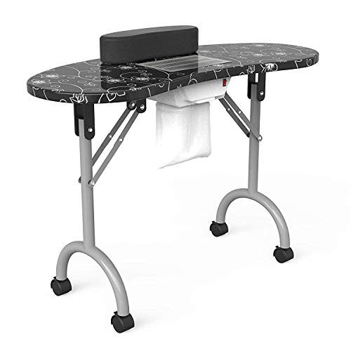 "Manicure Nail Table SUNCOO Portable Folding Station Desk Spa Beauty Salon With Rolling Wheels Fan Carry bag 35.4""15.7""29.4"" (Black)"