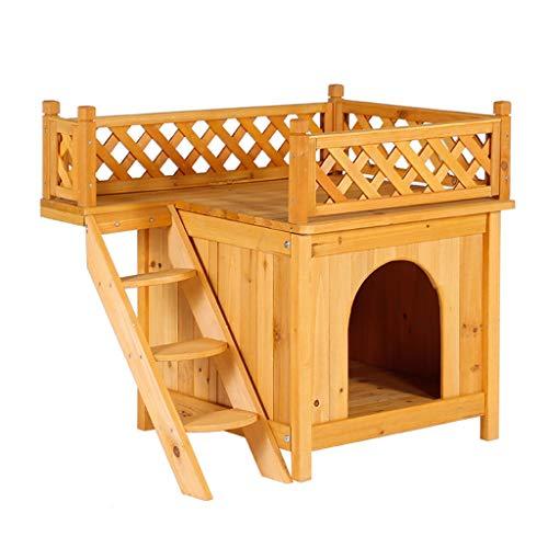 Perrera para Perros Gatos Madera maciza Nido para mascotas Desmontable y lavable Al aire libre Casa de perro a prueba de agua Gato de dos capas...