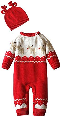 Zoerea Maglione Bambino Unisex Tutina Maglioni per Bimbi Tutine Neonato Maglioni Natale Maglieria Bambina e Cuffietta (Rosso, 80 (8-14 Mesi))