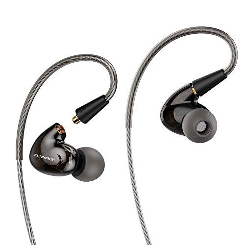 Tennmak Pro Dual Dynamic Driver - Auriculares desmontables con gancho para la oreja (micrófono negro)