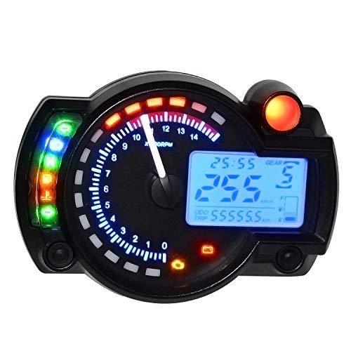Velocímetro digital 12V LCD de pantalla ajustable Temperatura Milla de combustible del contador del agua Meter Kilometraje 2-4 Cilindros, adecuados for 182 de la motocicleta Modificación del tablero d