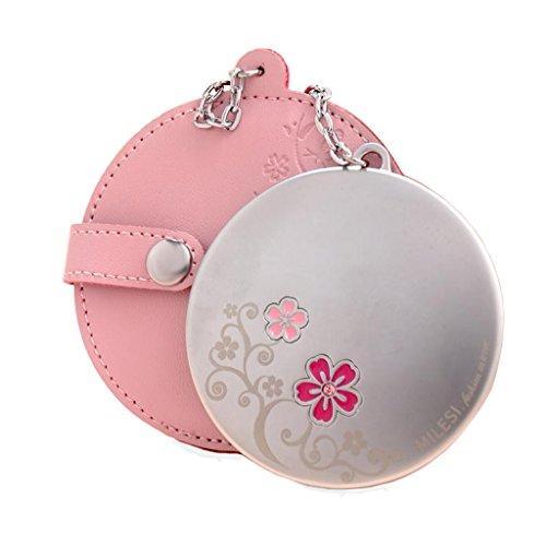 Miroir Circulaire portatif créatif Miroir de Maquillage Mini Portable givré Imagerie Claire avec étui en Cuir (Couleur : Rose)
