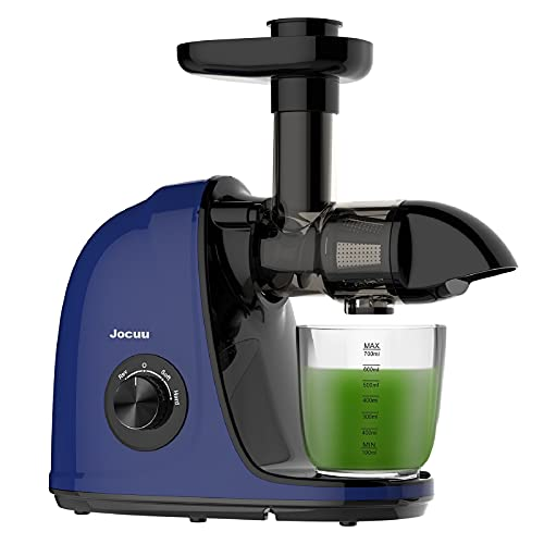 Juicer, Jocuu Slow Masticating Juicer Machines, Cold Press Juicer Extractor Easy to Clean, Soft/Hard Dual-Speed, Quiet Motor, Reverse Function Anti-Clogging, with Brush and Recipe, Blue