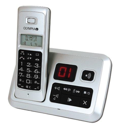 Olympia schnurloses Telefon Modell Smile answer silber mit Strahlungsreduzierungsfunktion ECO Mode und Anrufbeantworter
