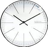 NeXtime Reloj de Pared de Mesa de 20 cm de diámetro en Forma de Cristal Blanco – 'Big Stripe Mini Dome, 19,5 x 0,04