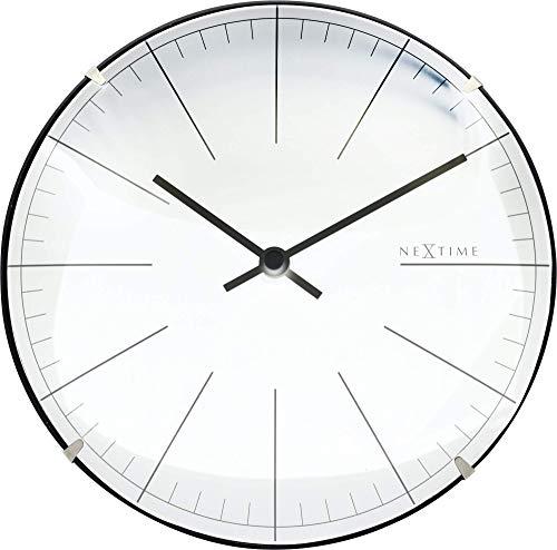 NeXtime Horloge Murale/de Table BIG Stripe Mini Dome, très silencieuse, Blanche, Ronde, ø 20 cm 3506WI